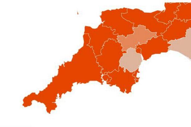 This map shows how likely each local authority area is to be over 100 weekly cases per 100,000 in the week ending December 6